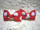 大きな水玉リボン(赤*白):からまないゴム