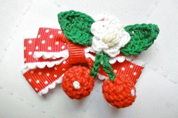 画像1: 《選択》縁レース赤水玉リボン(miniさくらんぼ付) (1)
