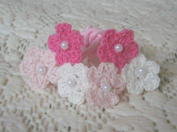 画像1: 3カラーお花のゴム(ピンク系) (1)