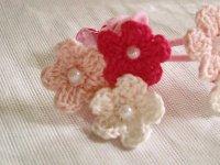 画像1: 3カラーお花のゴム(ピンク系)